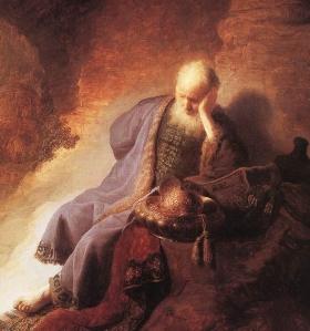 Jeremia treurt over de ondergang van Jeruzalem, Rembrandt