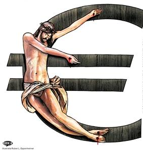 Cartoon van Ruben Oppenheimer in NRC: Christus gekruisigd aan de Euro