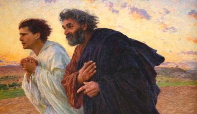 Petrus en Johannes op weg naar het lege graf op de paasmorgen, Eugène Burnand, 1898, cover tevens 'Is het waar?' van Andries Knevel 2008